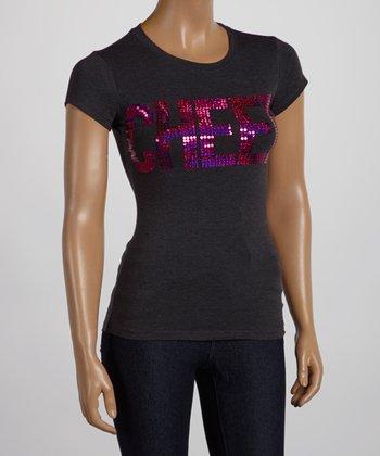 Dark Gray & Fuchsia Sequin 'Cheer' Tee - Women & Plus