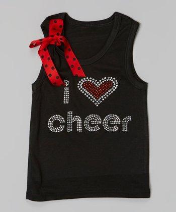 Black & Red 'I Love Cheer' Tank - Toddler & Girls