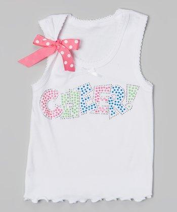 White & Pink 'Cheer' Tank - Toddler & Girls