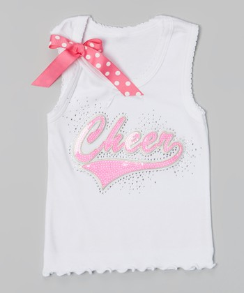 White & Pink Sequin 'Cheer' Tank - Toddler & Girls