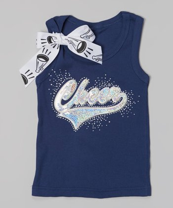 Navy & Silver Sequin 'Cheer' Tank - Toddler & Girls