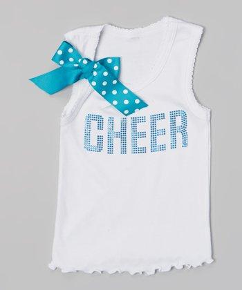 White & Blue 'Cheer' Tank - Toddler & Girls