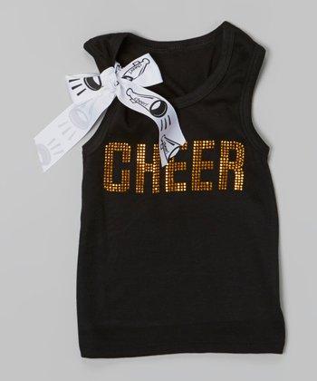 Black & Gold 'Cheer' Tank - Toddler & Girls