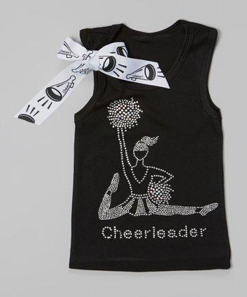 Black & Silver 'Cheerleader' Tank - Toddler & Girls