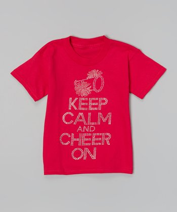 Hot Pink 'Keep Calm and Cheer On' Tee - Toddler & Girls