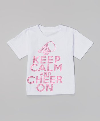 White & Pink 'Keep Calm and Cheer On' Tee - Toddler & Girls