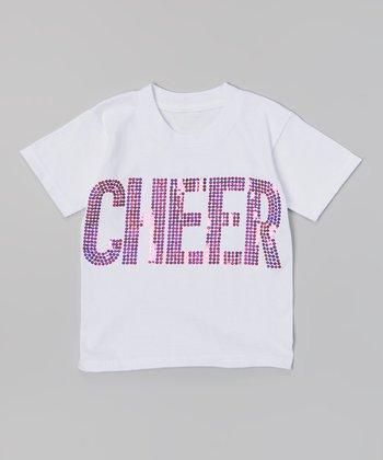 White & Pink Sequin 'Cheer' Tee - Toddler & Girls