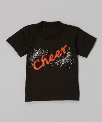 Black & Red 'Cheer' Tee - Toddler & Girls