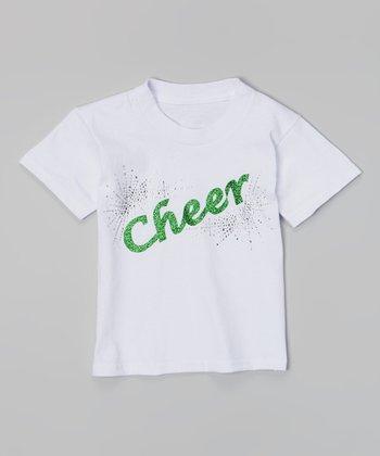 White & Green 'Cheer' Tee - Toddler & Girls