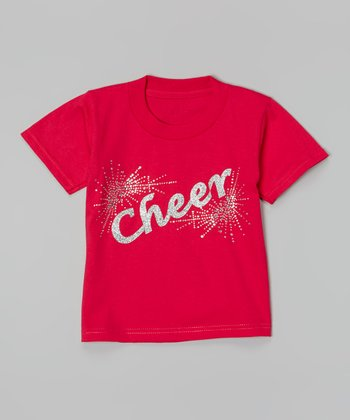 Hot Pink & Silver 'Cheer' Tee - Toddler & Girls