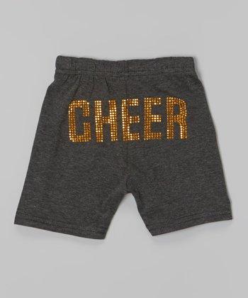 Dark Gray & Gold 'Cheer' Shorts - Toddler & Girls