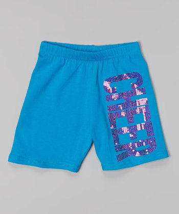 Turquoise & Hot Pink Sequin 'Cheer' Shorts - Toddler & Girls