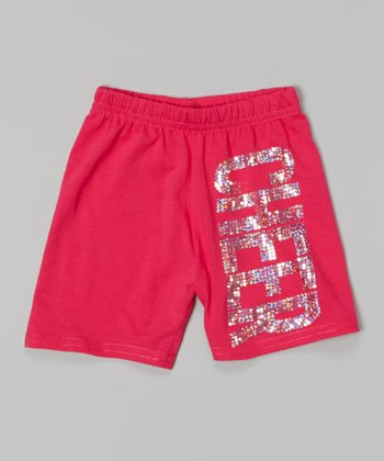 Hot Pink & Silver Sequin 'Cheer' Shorts - Toddler & Girls