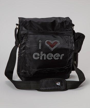 Black 'I Love Cheer' Messenger Bag