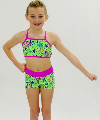 Butterfly TREASURES Lime Star Sports Bra & Shorts - Girls