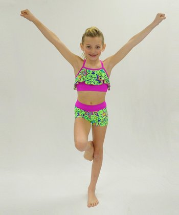 Butterfly TREASURES Lime Star Ruffle Sports Bra & Shorts - Girls