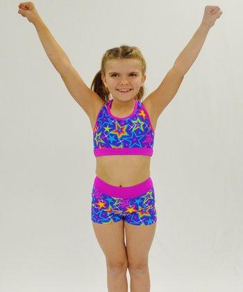 Butterfly TREASURES Purple Star Sports Bra & Shorts - Girls