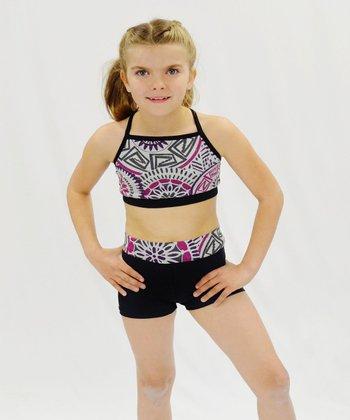 Butterfly TREASURES Black & Purple Geometric Sports Bra & Shorts - Girls