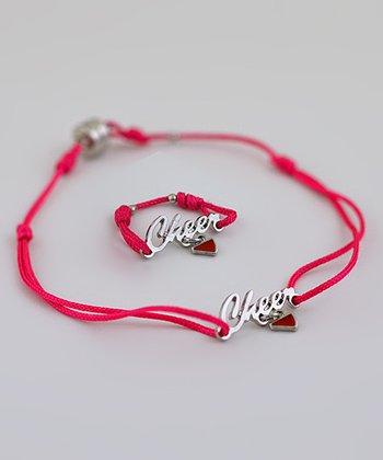 ChalkTalkSPORTS Fuchsia SportSTRING 'Cheer' Ring & Bracelet