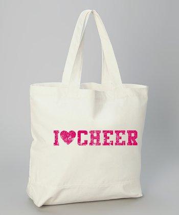 White 'I Love Cheer' Tote