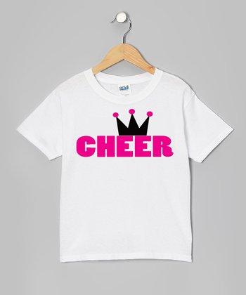 White 'Cheer' Princess Tee - Girls
