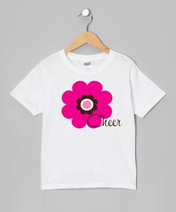 White 'Cheer' Flower Tee - Girls