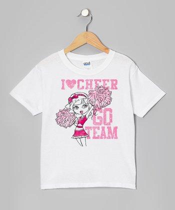 White 'I Love Cheer' Tee - Girls
