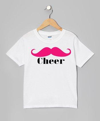 White 'Cheer' Mustache Tee - Girls