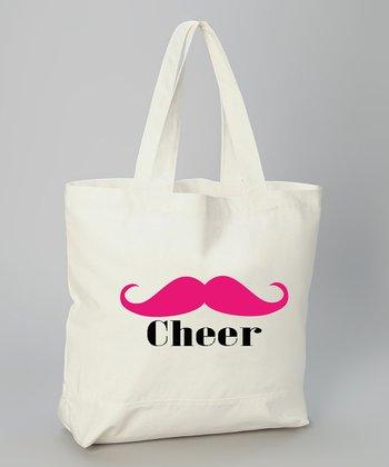 White 'Cheer' Mustache Tote