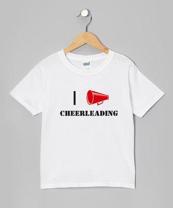 White 'I Love Cheerleading' Tee - Girls