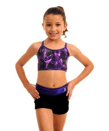 TumbleWear Black & Purple Vapor Sports Bra & Shorts - Girls