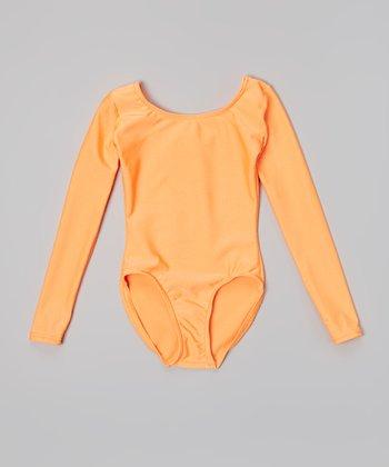 Mondor Neon Orange Long-Sleeve Leotard - Toddler & Girls