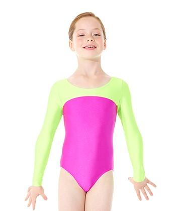 Mondor Hot Pink & Lime Long-Sleeve Leotard - Girls