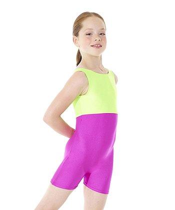 Mondor Neon Purple & Lime Sleeveless Biketard - Girls