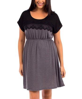 Black & Charcoal Lace-Yoke Cap-Sleeve Dress - Plus