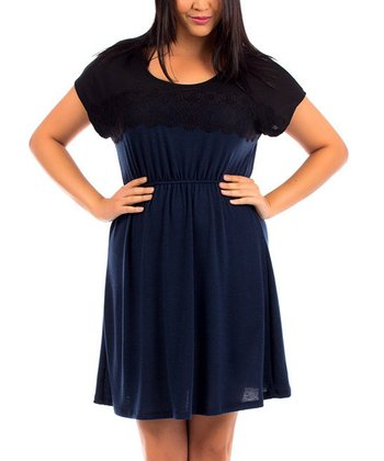 Navy & Black Lace Cape-Sleeve Dress - Plus