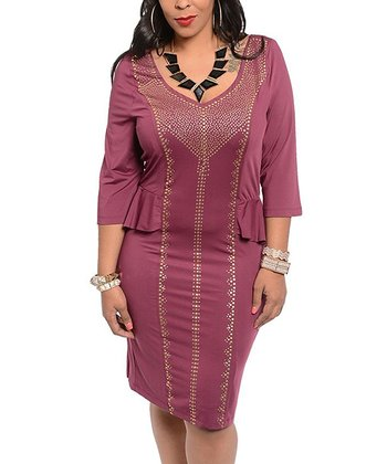 Plum Peekaboo Seam Three-Quarter Sleeve Dress - Plus