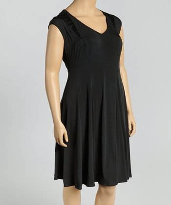 Black Sequin Shift Dress - Plus