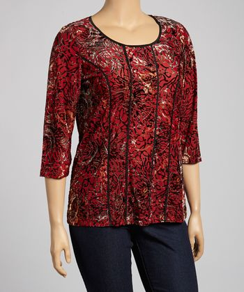 Red Floral Three-Quarter Sleeve Top - Plus