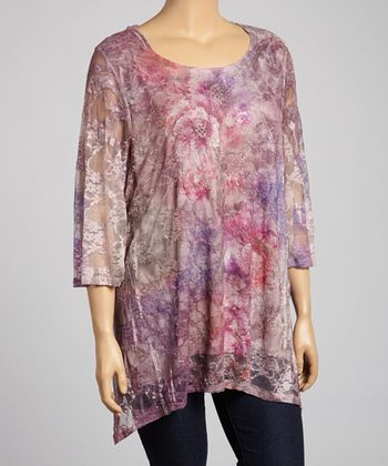 Plum & Mauve Floral Tunic - Plus
