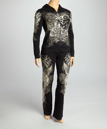 Black Skull Angel Hoodie & Lounge Pants - Plus