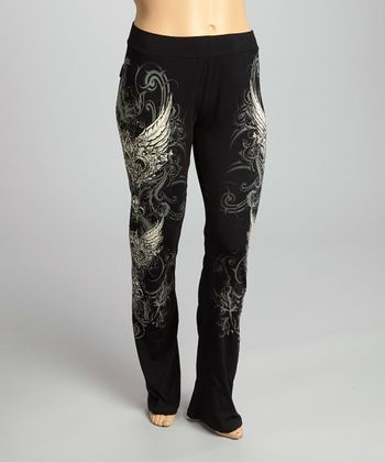 Black Edgy Fleur-de-Lis Lounge Pants - Plus