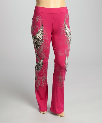 Hot Pink Edgy Fleur-de-Lis Lounge Pants - Plus