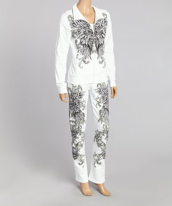 White Fleur-de-Lis Track Jacket & Lounge Pants - Women