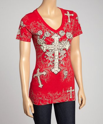 Red Cross V-Neck Tee - Women