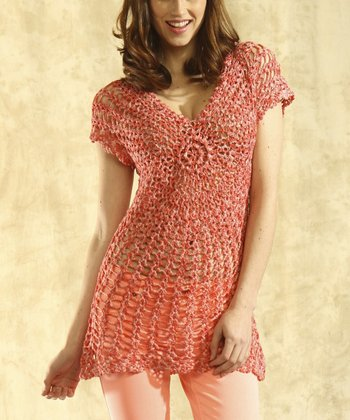 Coral Crocheted Top