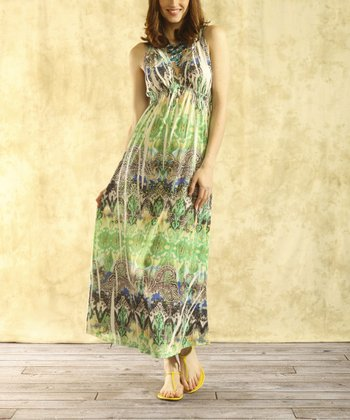 Green Sublimation Halter Maxi Dress