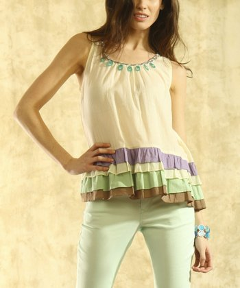 Ecru Tiered Ruffle Top