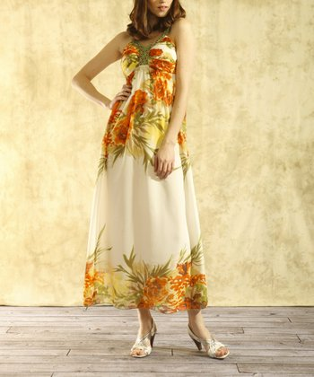 White & Orange Floral Maxi Dress