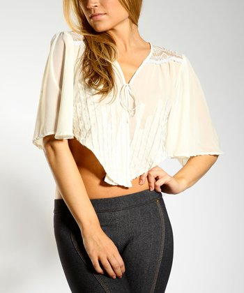 Ecru Burnout Dolman Crop Top